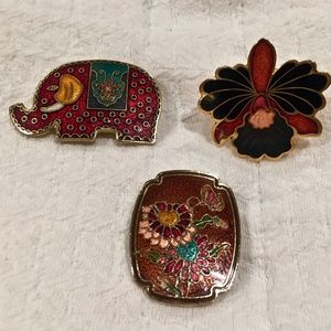 Vintage Cloisonne Brooches & Scarf Ring